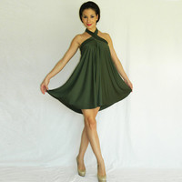 Convertible dress/skirt hunter green jersey by orchideaboutique