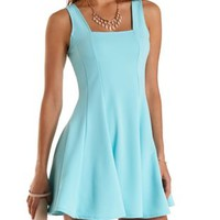 Mint Square Neck Sleeveless Skater Dress by Charlotte Russe