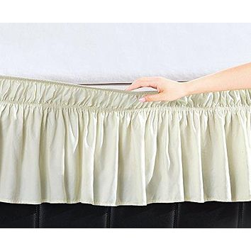 EasyWrap Ivory Elastic Ruffled Bed Skirt with 16 inch  Drop - Twin/Full