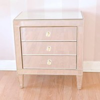 Hollywood Regency Shabby Chic Mirror 3 Drawer Nightstand Side Table