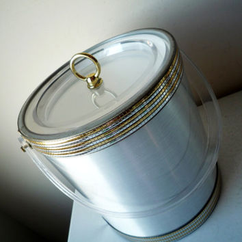 Midcentury Hollywood Regency Silver Plastic Ice Bucket, SALE