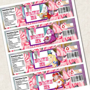 Alice in Wonderland Birthday Party Water Bottle Labels, cheshire cat, rabbit (Digital File)