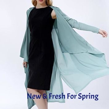 A FOREVER Spring and Autumn Loose Long Sleeve Duster And Cardigan
