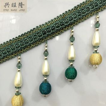 XWL 12Yards/Lot 10cm Wide Curtain Accessories Pearl Beads Lace Tassel Fringes Trim Ribbon DIY Curtain Sofa Sewing Stage Decor