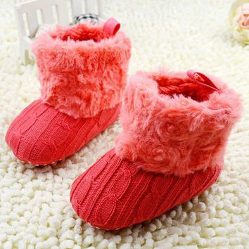 Baby Shoes Crochet Knit Fleece Boots