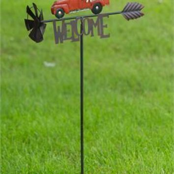 Red Truck with Labs Welcome Garden Stake