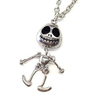 "Adorable ""nightmare before christmas"" skeleton necklace"