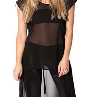 Black Mesh Short Sleeve Short Front Tie Back Top