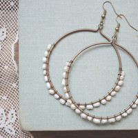 wire wrapped pearl earrings: pearl hoop earrings, pearl hoops, wire wrapped hoops, wire wrapped hoop earrings, beaded hoop earrings