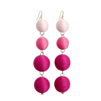 Pom Bon Earrings in Pink Ombre