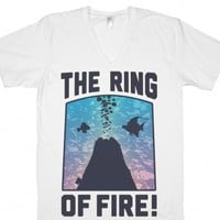 The Ring of Fire (V-Neck)-Unisex White T-Shirt