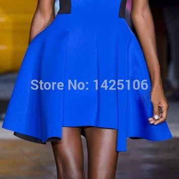 2016 Cocktail Party Dress Royal Blue Prom Dress Vestido De Cocktail Short Special Occasion Dresses Scoop A Line Dress to Party