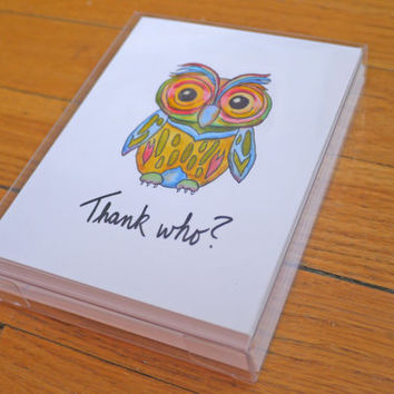 Cute Thank You Card - Owl - Thank Who - 12 Pack