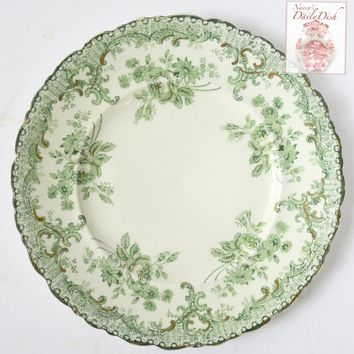 English Victorian China Green Transferware Plate Flower Garland Swag Meakin Delaware