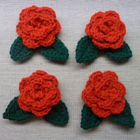 Crochet Roses With Leaves - Craft Supplies - Red