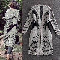 Print Long Sleeves V-neck Long Cardigan