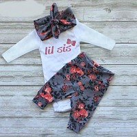 New Christmas Suit for Girls Baby Clothes Set Baby Girls Clothing of Long sleeve Romper + Pants + Headband Suit