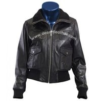 Bomber Leather Jacket Rib Collar Leather Jacket