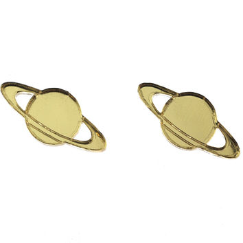 Saturn Earrings in Mirror Gold