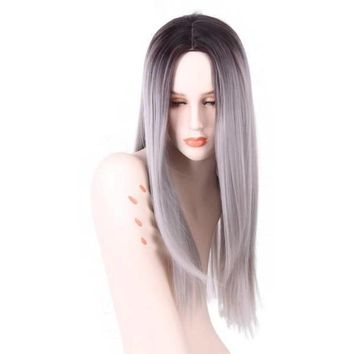 Grey Red Pink Ombre Black Wig Synthetic Wig