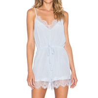 keepsake Stolen Dance Silk Romper in Pastel Blue
