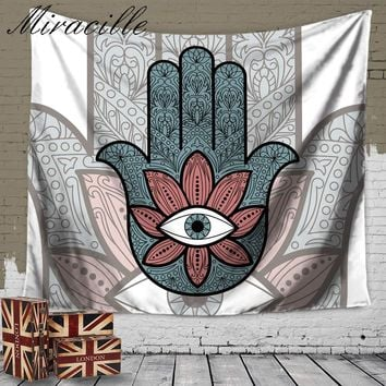 Miracille Hamsa Hand Indian Mandala Tapestry Floral Wall Hanging Tapestries for Home Decoration Bedspread Yoga Mat Picnic Cloth