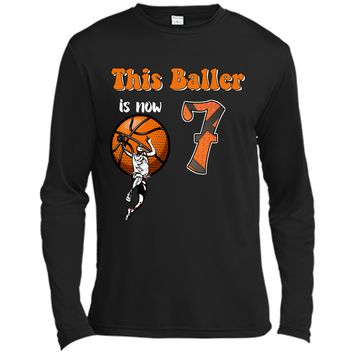 7th Birthday Basketball T-Shirt Funny 7 Years Old Gift Long Sleeve Moisture Absorbing Shirt