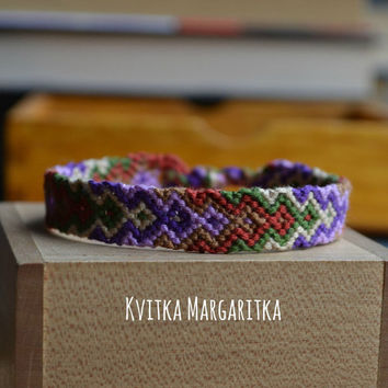 Friendship bracelet woven aztec. best friend gift. girlfriend gift. boyfriend gift. violet. ivory. khaki. terracotta. green.