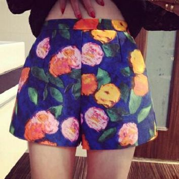 Blue Floral Pockets Sewing High Waisted Casual Loose Shorts