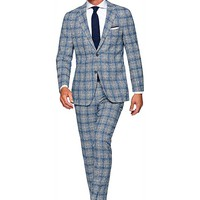 Suit Blue Check Havana P4840 | Suitsupply Online Store