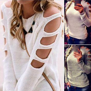 DCCKBA7 Sexy hollow sleeve round collar pullovers White sweater