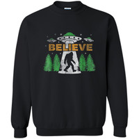 Bigfoot UFO Aliens  BELIEVE Sasquatch Gift  Printed Crewneck Pullover Sweatshirt