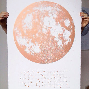 Copper Full Moon 2017 Calendar Moon Phases, lunar phase screen print, beautiful silver gold large print 22x30, la luna wall art space, stars