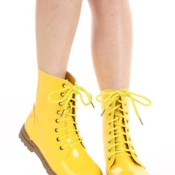 Yellow Patent Faux Leather Combat Boots