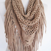 Beige Knitted Fringed Scarf / Shawl, Lace Scarf, Cowl, Headband, Infinity Scarf, Triangle Scarf