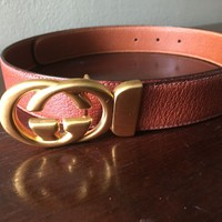 Men's Genuine Gucci Brown Pebble Leather Belt with Gold Tone Buckle Size 34-36