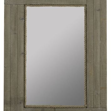 Hatteras Mirror Driftwood Gray Wash Finish with Rope Inner Border