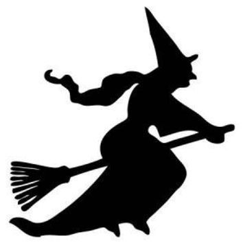 Witch On A Broom Stick Vinyl Car Decal