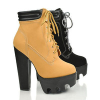 Vive11 Padded Collar Ankle Lugsole Platform High Thick Block Heel Bootie