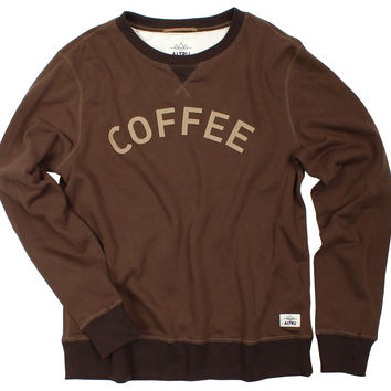 Altru Apparel Coffee Crew Neck Terry Sweatshirt with felt applique (XL only)