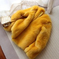 New Style High-end Fashion Women Faux Fur Coat S67