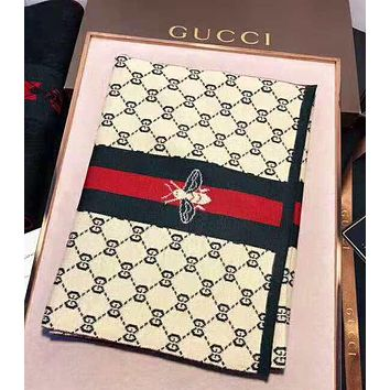 GUCCI Newest Fashion Women Men Stripe Bee Letter Jacquard Cashmere Cape Scarf Scarves Shawl Accessories