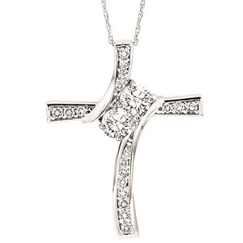 Twogether 14K White Gold 1/4cttw Diamond Cross Necklace