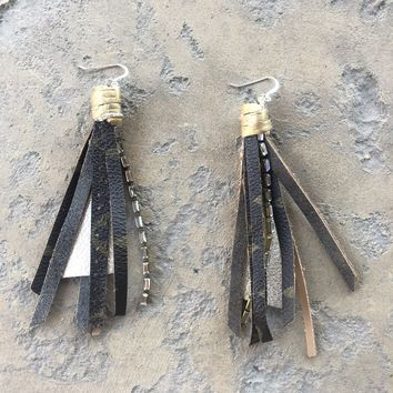 Upcycled Louis Vuitton Fringe Earrings