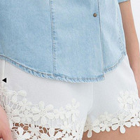 White Flower Lace Hem Shorts