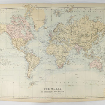 Old 1884 A C Black World Map, Mercator Projection Antique Map of World, Old World Decor Gift for Couple, World Traveler Gift, Ocean Currents