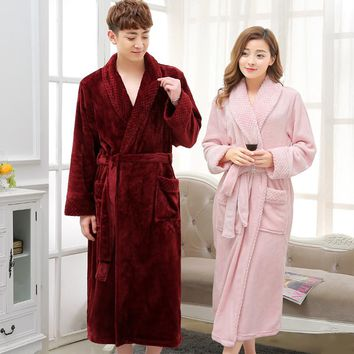 New Arrival Silk Soft Flannel Long Kimono Bath Robe Men Waffle Winter Bathrobe Mens Robes Dressing Gown Nightgowns for Male