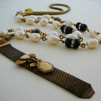 Long Statement Necklace, Antique FOB Freshwater Pearls Black Onyx Pyrite Brass