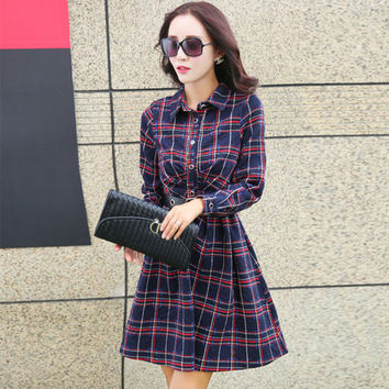 2016 New Spring Women Casual 100% Cotton Long Sleeve Classic Plaid With Belt High Quality Blue Red Shirt Dress