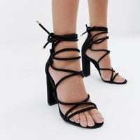 Simmi London Heidi black lace up block heeled sandals at asos.com